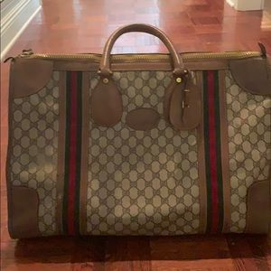 Vintage Gucci double g red green stripe carryon